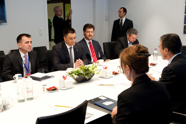 Centre left to right: Vitalie Marinuta (Minister of Defence, Moldova) in bilateral discussion with NATO Secretary General, Anders Fogh Rasmussen
