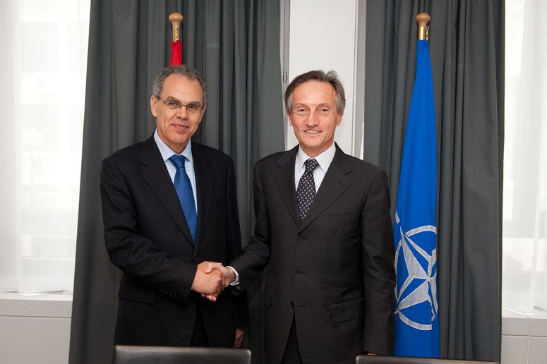 Left to right:  Abdeltif Loudyi (Minister Delegated for Defence of Morocco) shaking hands with NATO Deputy Secretary General, Ambassador Claudio Bisogniero