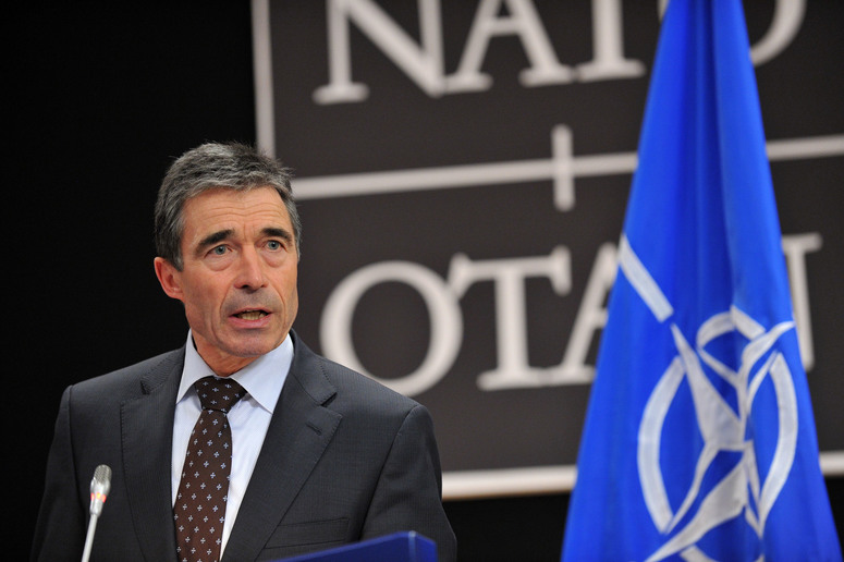 NATO Secretary General Anders Fogh Rasmussen briefing the press on the latest developments in Libya