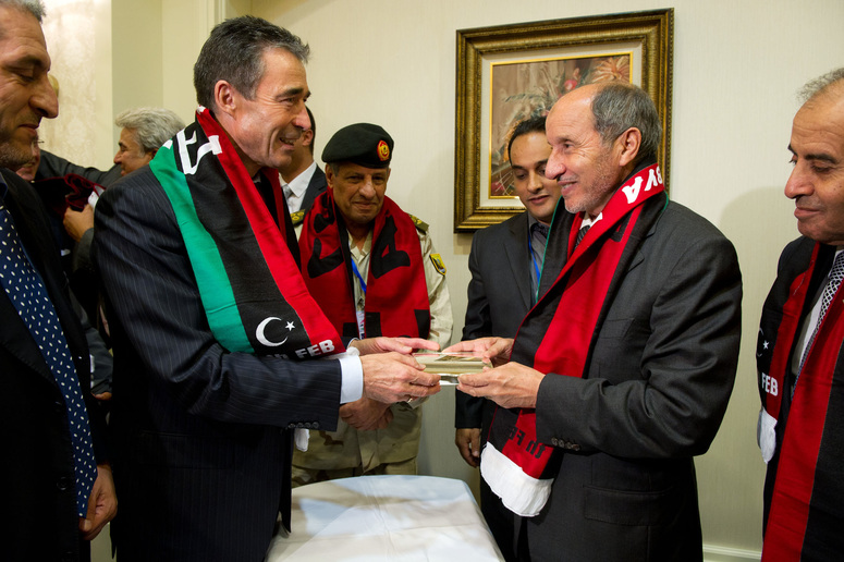 NATO Secretary General Anders Fogh Rasmussen and Mustafa Abdul Jalil, Chairman of the National Transitional Council of Libya
