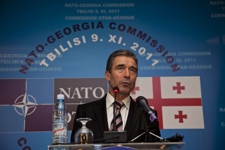 Anders Fogh Rasmussen, Secretary General for NATO during his press briefing after the NATO-Georgia Commission meeting (NGC) in Hotel Radisson Blu Iveria in Tbilisi, Georgia, 9 November 2011.