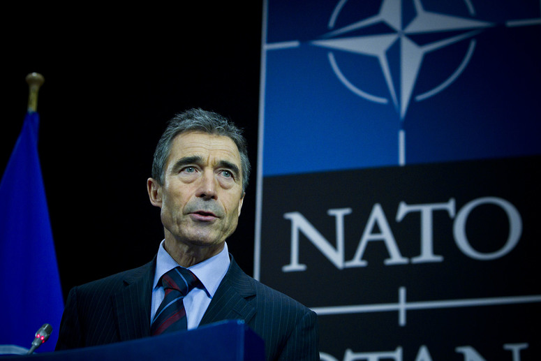 NATO Secretary General Anders Fogh Rasmussen at the press conference after the first day of the Meeting of NATO Ministers of Foreign Affairs.