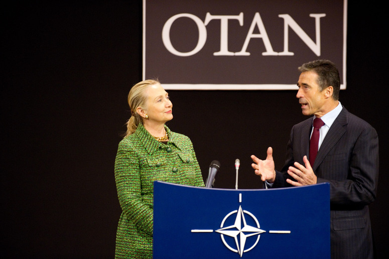 Left to right: Hillary Rodham Clinton (US Secretary of State) with NATO Secretary General, Anders Fogh Rasmussen