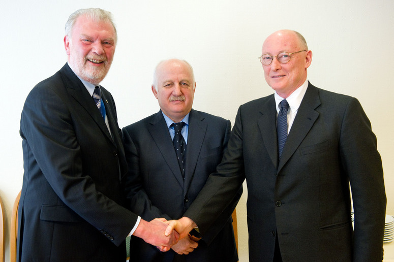 The NATO Consultation, Command and Control Agency celebrated with a ceremony on 8 March 2012 the award of a contract for upgrading the NATO cyber defence capabilities. The award to private industrial companies will enable the already operating NATO Computer Incident Response Capability to achieve full operational capability by the end of 2012. Left to right: Georges D'hollander, NC3A General Manager; Suleyman Anil, Head of NATO Cyber Defence Coordination and Support Centre; and Alberto de Benedictis, Chief Executive, Finmeccanica UK Ltd