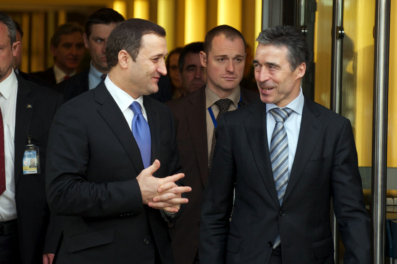 Left to right: the Prime Minister of the Republic of Moldova, Vladimir Filat and NATO Secretary General Anders Fogh Rasmussen