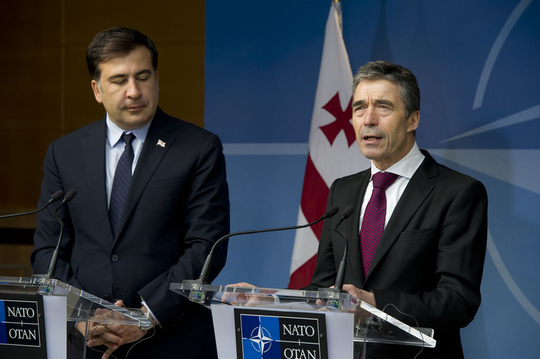 Press point with NATO Secretary General, Mr. Anders Fogh Rasmussen and the President of Georgia, H.E. Mr. Mikheil Saakashvilli