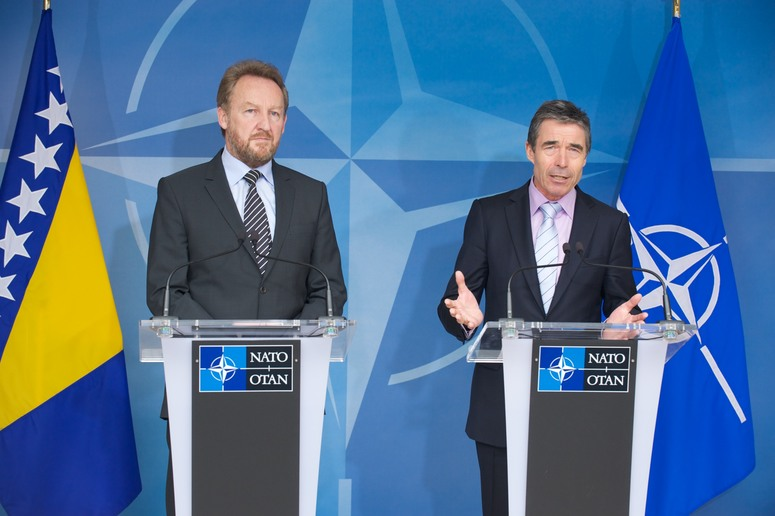 Joint press point with the Chairman of the Presidency of Bosnia and Herzegovina, Bakir Izetbegovic and NATO Secretary General Anders Fogh Rasmussen