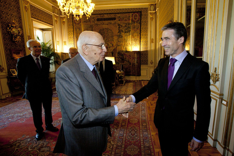 Bilateral meeting between NATO Secretary General Anders Fogh Rasmussen and the President of Italy, Giorgio Napolitano, at Piazza del Quirinale in Rome, Italy, on Friday 27th April 2012.