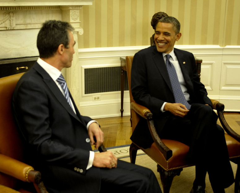 NATO Secretary General Anders Fogh Rasmussen, with US President Barack Obama during a meeting in the White House's Oval Office