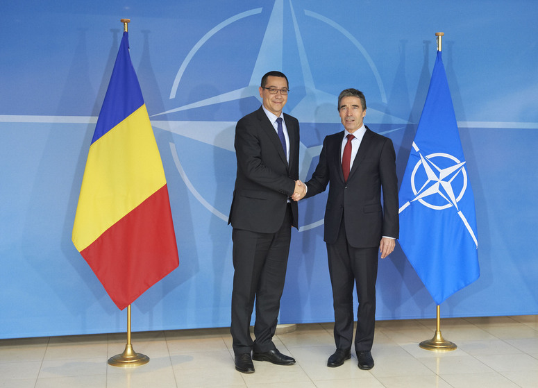 NATO Secretary General, Mr. Anders Fogh Rasmussen welcomes the Prime Minister of Romania, Mr. Victor Ponta