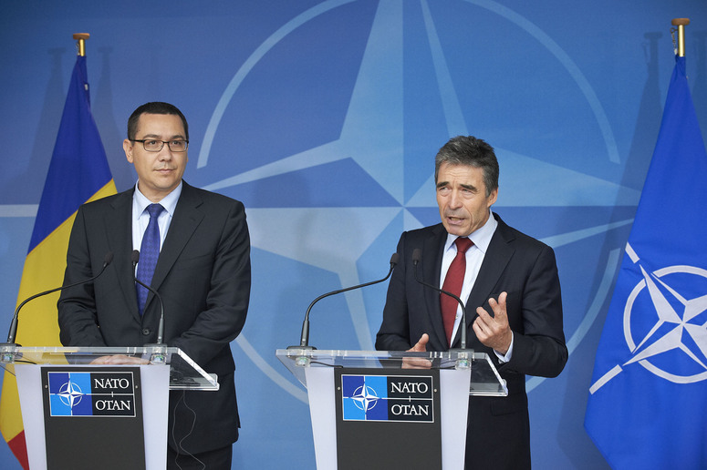 NATO Secretary General, Mr. Anders Fogh Rasmussen and the Prime Minister of Romania, Mr. Victor Ponta address the press after their bilateral meeting