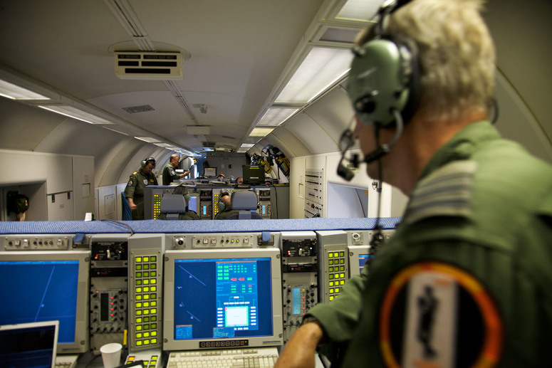 NATO E-3A Squadron 3 crew on board the AWACS over Poland during the European Soccer Championships 2012.