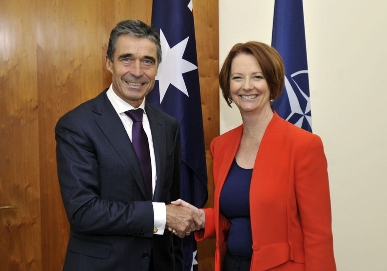 Visit to Canberra, Australia by NATO Secretary General Anders Fogh Rasmussen (left) meeting with Australian Prime Minister the Hon. Julia Gillard (right) at Parliament House