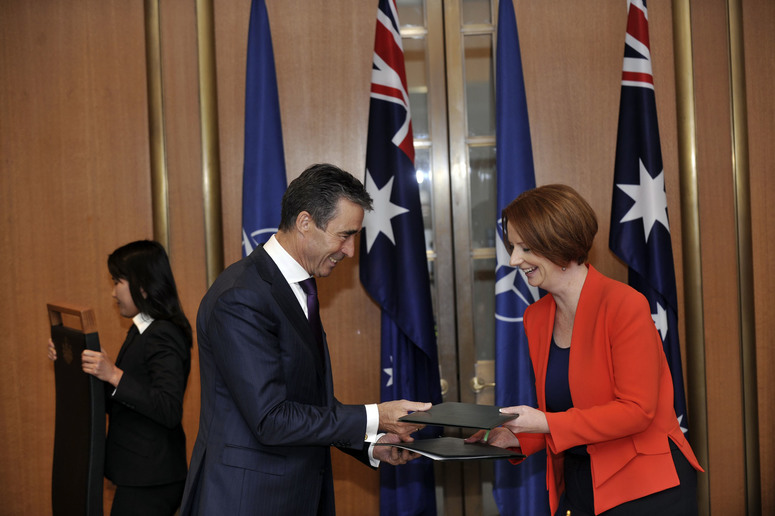 Visit to Canberra, Australia by NATO Secretary General Anders Fogh Rasmussen. Signing of the Joint Political Declaration between Australia and NATO with Australian Prime Minister the Hon. Julia Gillard (right) at Parliament House