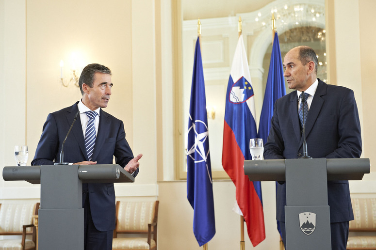 Joint press point with NATO Secretary General Anders Fogh Rasmussen and the Prime Minister of the Republic of Slovenia, Janez Jansa