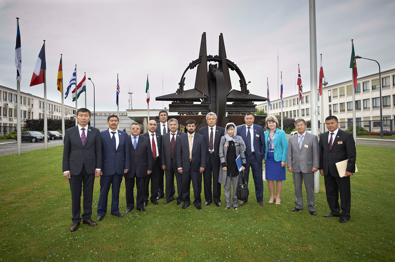 The group of parliamentarians from Afghanistan, Kazakhstan, Kyrgyzstan and Tajikistan visiting NATO Headquarters in Brussels, Belgium