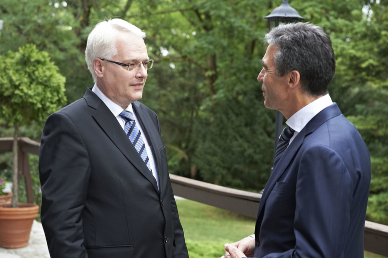 NATO Secretary General Anders Fogh Rasmussen meets with the President of Croatia, Ivo Josipovic.