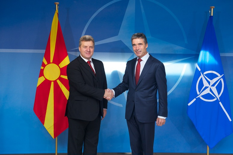 The President of the former Yugoslav Republic of Macedonia¹, Dr Gjorge Ivanov and NATO Secretary General Anders Fogh Rasmussen