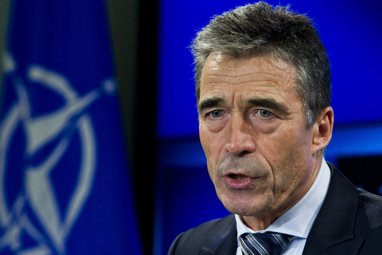 NATO Secretary General Anders Fogh Rasmussen during his monthly press briefing at the Residence Palace in Brussels