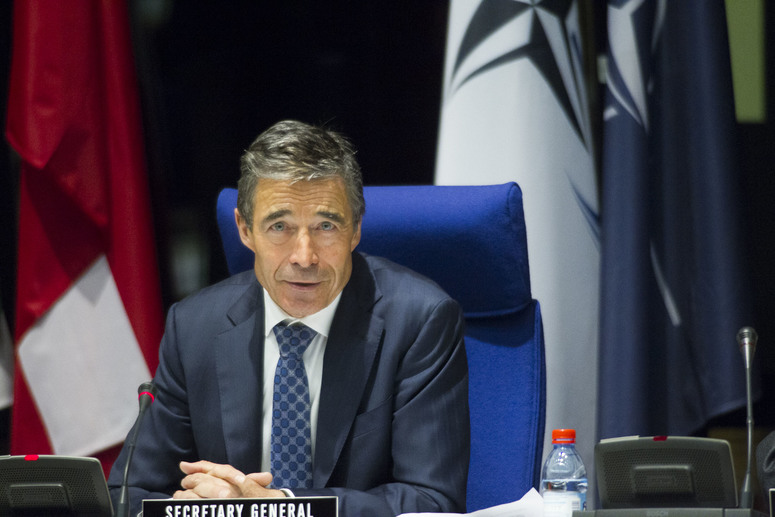 NATO Secretary General Anders Fogh Rasmussen delivering a speech at the  joint meeting of the North Atlantic Council and the NATO Parliamentary Assembly in Luxembourg.