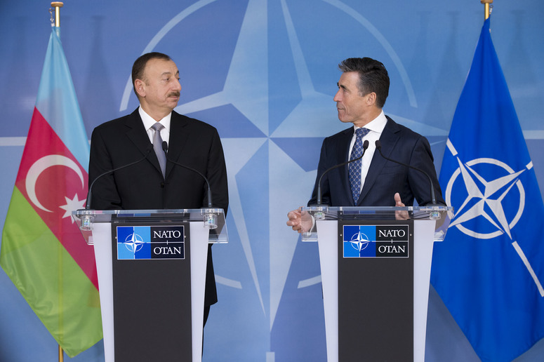 Press Point with NATO Secretary General Anders Fogh Rasmussen and the President of Azerbaijan, Ilham Heydar oglu Aliyev