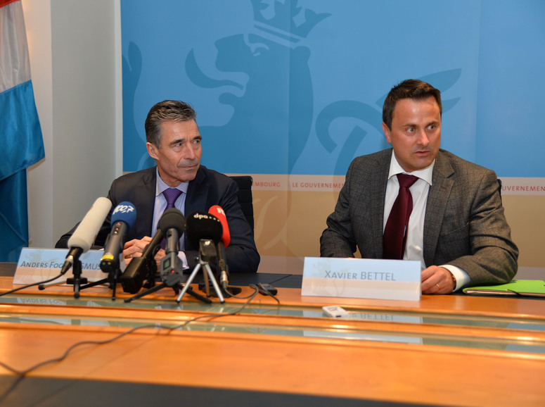 Joint press point with NATO Secretary General Anders Fogh Rasmussen and the Prime Minister of Luxembourg, Xavier Bettel