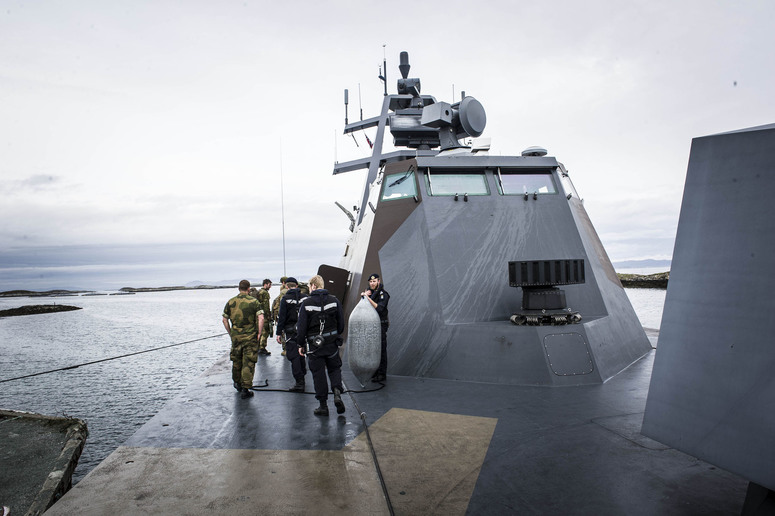 As part of NATO's Unified Vision 2014 trial, the Norwegian coastal corvette KNM Skudd demonstrates how intelligence information provided by ISR assets to the trial command centre (TRICOM) can provide targeting information to the corvette. Photo: Royal Norwegian Airforce/Emil Elsetroenning.  The KNM Skudd is a stealthy missile corvette capable of speeds of over 100kph.