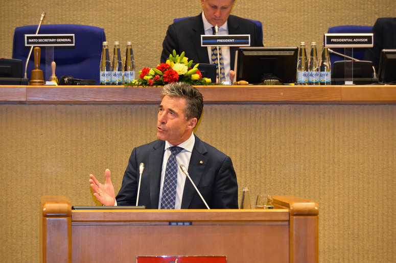 NATO Secretary General Anders Fogh Rasmussen giving the speech ''NATO: Standing Strong'' at the Spring Session of the NATO Parliamentary Assembly