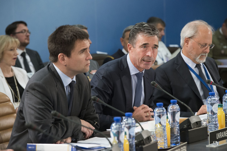 Head of the table - Pavlo Klimkin (Minister of Foreign Affairs, Ukraine); NATO Secretary General Anders Fogh Rasmussen and Thrasyvoulos Terry Stamatopoulos (NATO Assistant Secretary General for Political Affairs and Security Policy)