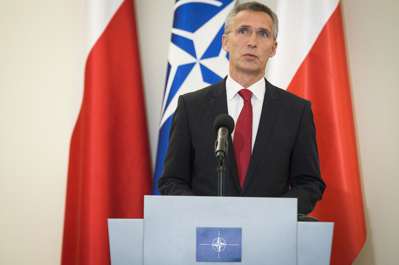 NATO Secretary General Jens Stoltenberg during the joint press point with the President of Poland, Bronislaw Komorowski