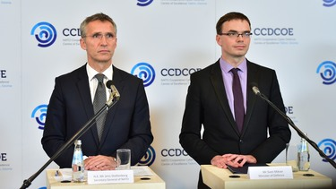 Joint press point with NATO Secretary General Jens Stoltenberg and Sven Mikser, Minister of Defence of Estonia