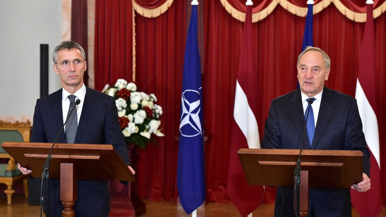NATO Secretary General Jens Stoltenberg and President Andris Berzins of Latvia