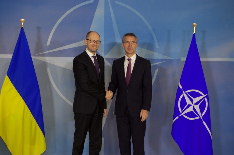The Prime Minister of Ukraine, Arseniy Yatsenyuk and NATO Secretary General Jens Stoltenberg