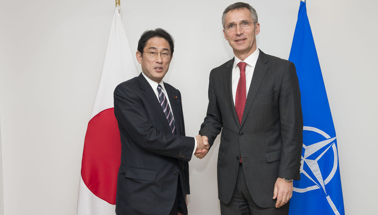 NATO Secretary General Jens Stoltenberg meets with the Minister of Foreign Affairs of Japan, Fumio Kishida