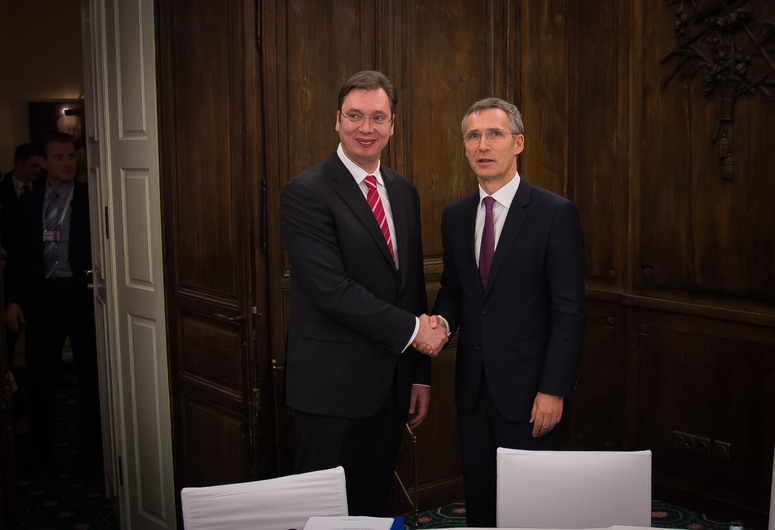 Bilateral meeting between NATO Secretary General Jens Stoltenberg and Aleksandar Vucic, Prime Minister of Serbia