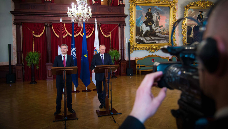 Joint press point with NATO Secretary General Jens Stoltenberg and the President of Latvia, Andris Berzins