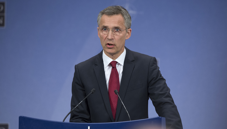 NATO Secretary General Jens Stoltenberg previews upcoming meeting of NATO Defence Ministers during a press conference given at NATO headquarters