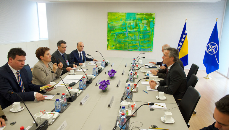 Bilateral meeting between NATO Secretary General Jens Stoltenberg and the Minister of Defence of Bosnia and Herzegovin, Marina Pendes