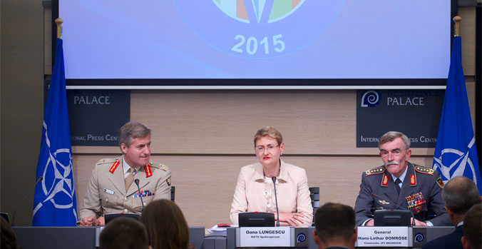 Joint press point with Lieutenant General Phil Jones, Chief of Staff Allied Command Transformation; NATO Spokesperson, Oana Lungescu and General Hans-Lothar Domrose, Commander JFC Brunssum