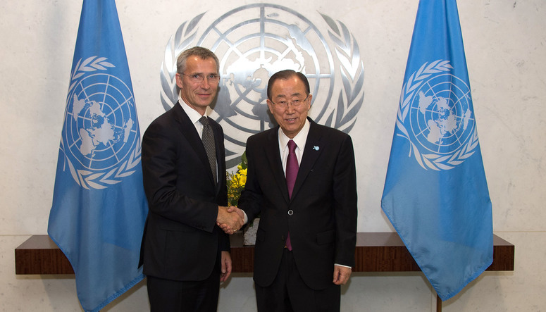 NATO Secretary General Jens Stoltenberg meets with the Secretary General of the United Nations, Ban Ki-moon