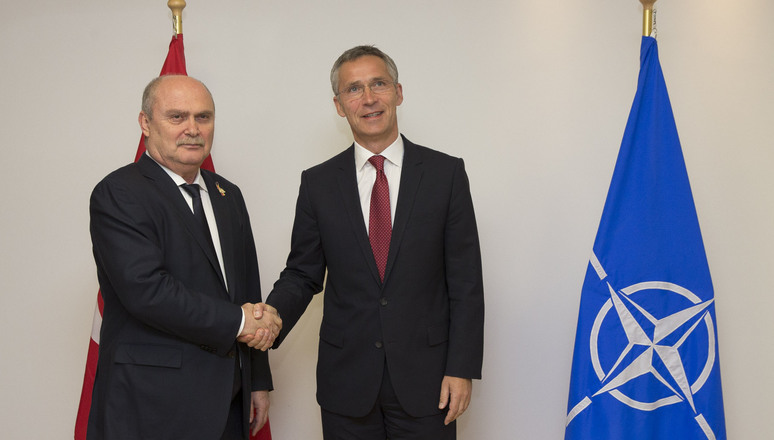 NATO Secretary General Jens Stoltenberg and the Minister of Foreign Affairs of Turkey, Feridun Sinirlioglu