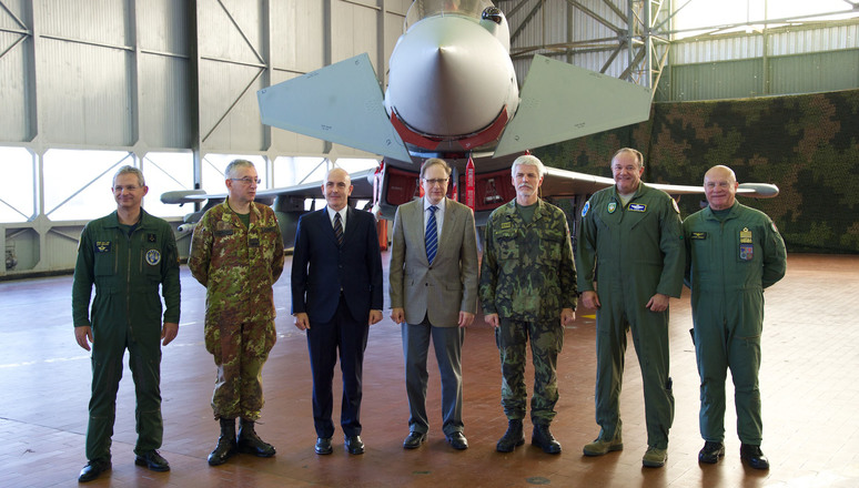 From left to right: General Denis Mercier (Supreme Allied Commander Transformation), General Claudio Graziano (Italian Chief of Defence), Gioacchino Alfano (Italian Undersecretary of Defence), Ambassador Alexander Vershbow (NATO Deputy Secretary General), General Petr Pavel (Chairman of the NATO Military Committee), General Philip Breedlove (Supreme Allied Commander Operations) and Lieutenant General Pasquale Preziosa (Commander Italian Air Force).