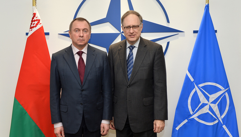 NATO Deputy Secretary General Alexander Vershbow and the Minister of Foreign Affairs of the Republic of Belarus, Vladimir Makei