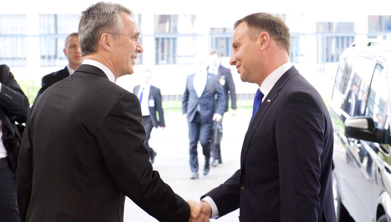 NATO Secretary General Jens Stoltenberg welcomes the President of Poland, Andrzej Duda at NATO headquarters