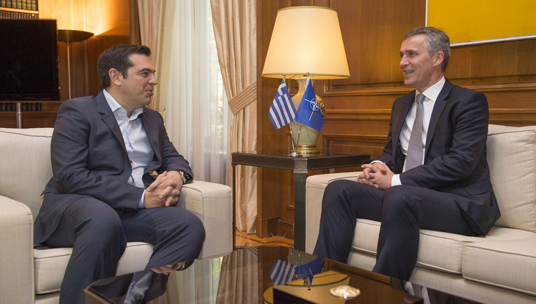 NATO Secretary General Jens Stoltenberg meets with Alexis Tsipras, Prime Minister of Greece