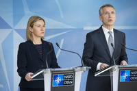Meeting of the Foreign Ministers at NATO Headquarters in Brussels - Joint Press Point with NATO Secretary General and the EU High Representative