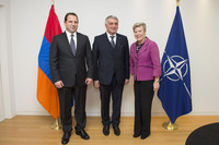 Deputy Foreign Minister Ashot Hovakimian and First Deputy Defence Minister David Tonoyan of Armenia visit NATO
