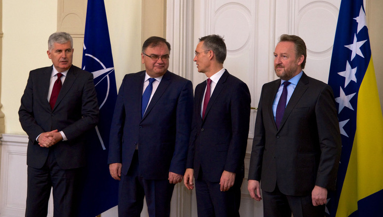 NATO Secretary General Jens Stoltenberg meets with the Tri-Presidency of Bosnia and Herzegovina