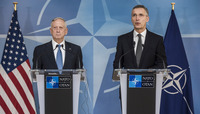 Meetings of the NATO Defence Ministers at NATO Headquarters in Brussels - Bilateral meeting and Joint Statement with NATO Secretary General and the US Secretary of Defense