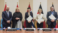 Meetings of the NATO Defence Ministers at NATO Headquarters in Brussels - Declaration of Intent on Multi Role Tanker Transport Capability (MRTTC) between Belgium, Germany, Luxembourg, The Netherlands and Norway